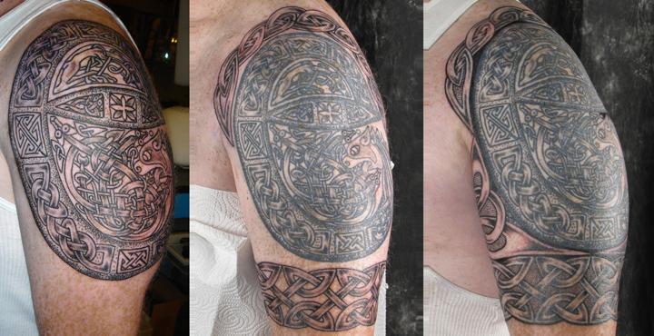 Cross Half Sleeve Tattoo Forearm Into a Half-sleeve Tattoo