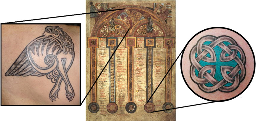 Folio 5r. from the Book of Kells and 2 tattoos based on it by Pat Fish