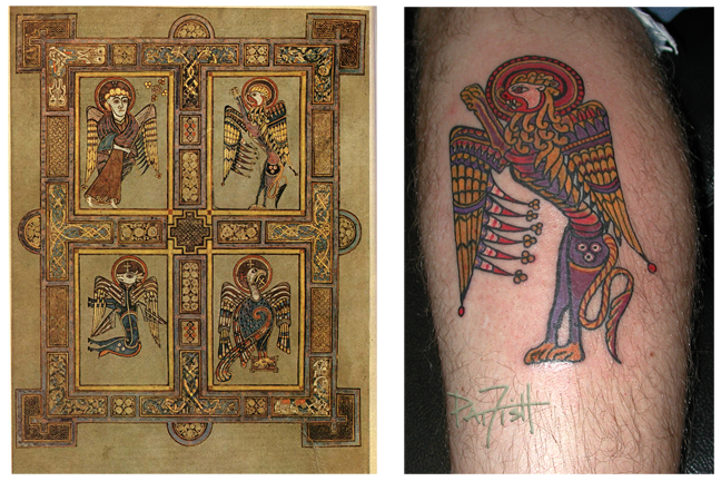 Folio 27 verso from the Book of Kells and a tattoo based on the lion in the upper right corner by Pat Fish Buy this design as Tattoo Flash