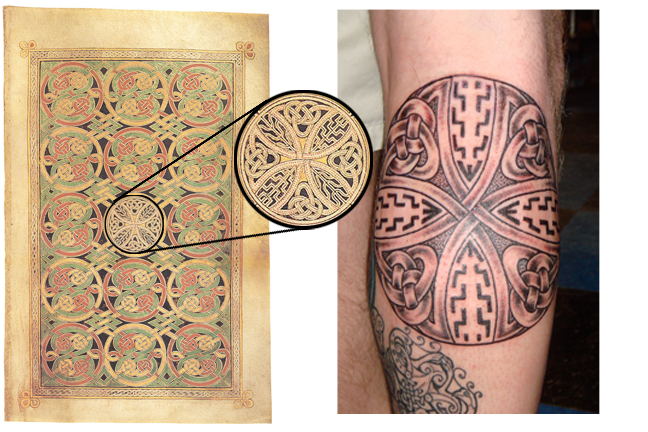 "This ""Disk of Durrow"" Tattoo by Pat Fish is the center of a cross and carpet page, Folio 85 verso of the Book of Durrow."