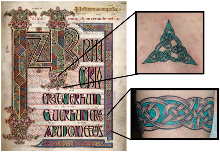 Folio 211 of the Lindisfarne Gospels inspired these two tattoos by Pat Fish
