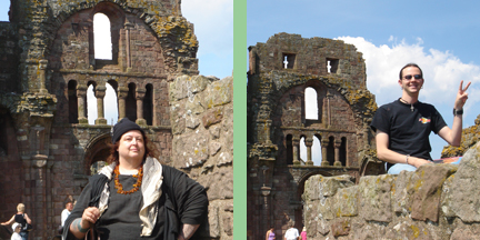Pat Fish and Colin Fraser on The Holy Island exploring the ruins of Lindisfarne Priory, birthplace of a famous illuminated manuscript: The Lindisfarne Gospels.