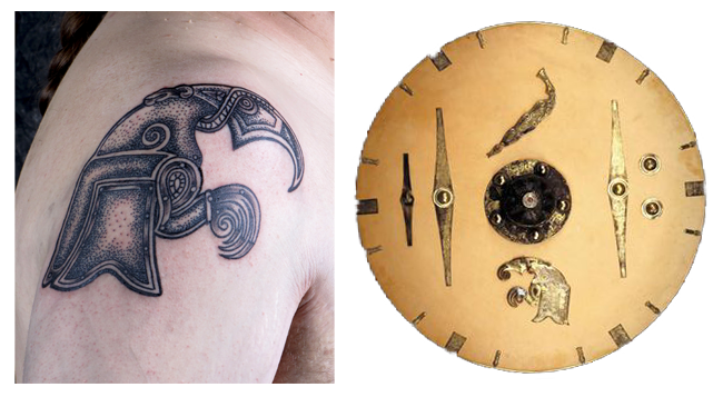 A shield from the Sutton Hoo Saxon Hoard and the Tattoo  by Pat Fish  based on it
