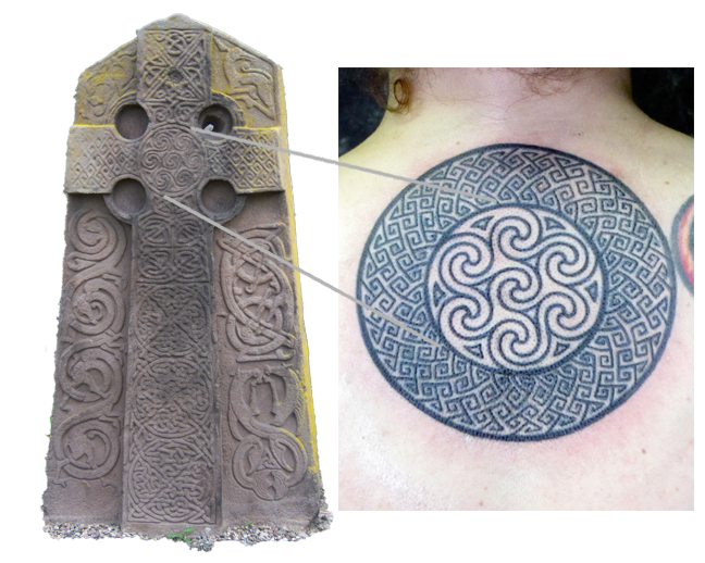 Stone Cross Slab - Aberlemno, Scotland and Tattoo by Pat Fish