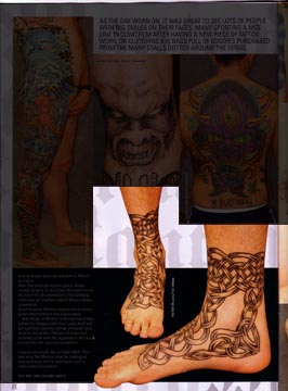 My Celtic Foot Tattoo (unfinished) as featured in Skin Deep Tattoo Magazine
