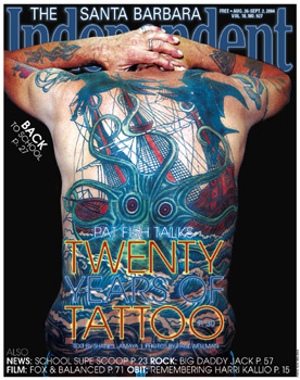 Pat Fish Talks TWENTY YEARS OF TATTOO says the headline lost against this backpiece I did of a kraken taking down a tri-masted sailing ship.