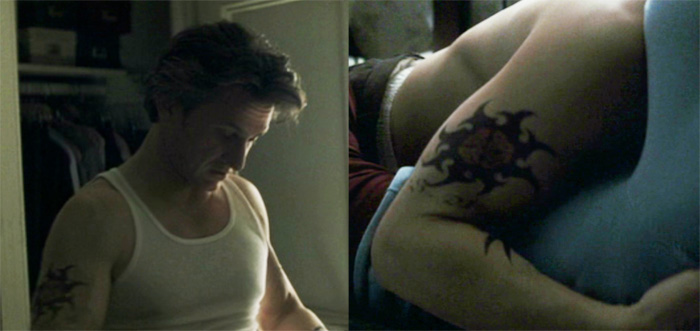 Sean Penn's character wearing a Pat Fish Celtic tattoo design.