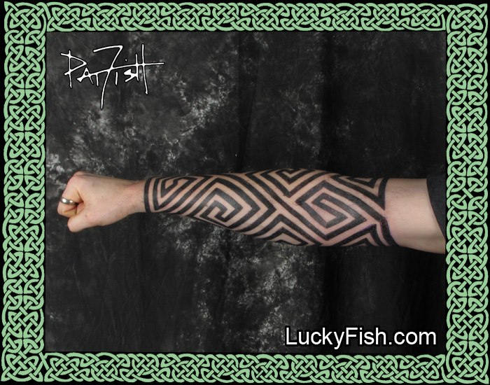 Another view of the Pictish Keymorph forearm tattoo by Pat Fish