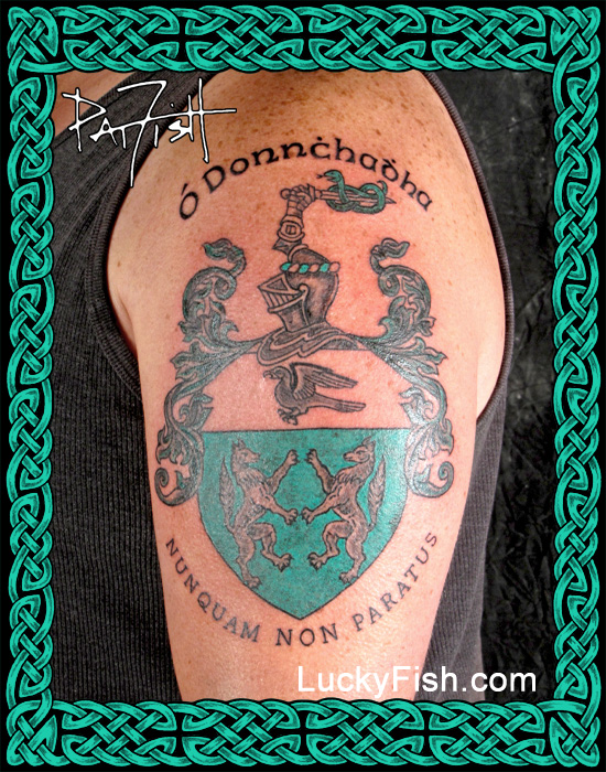 Custom Donahue Family Crest Tattoo by Pat Fish