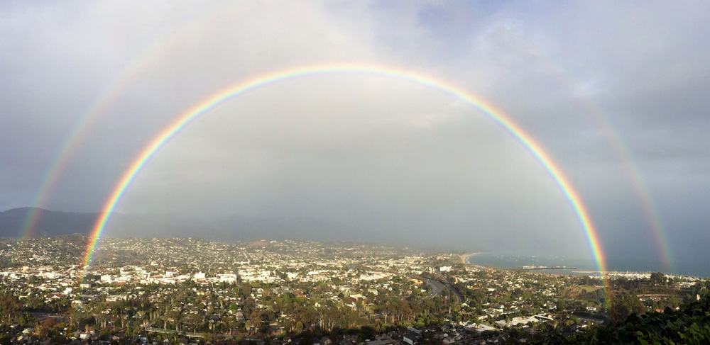 A double rainbow over Santa Barbara on a rare cloudy day.