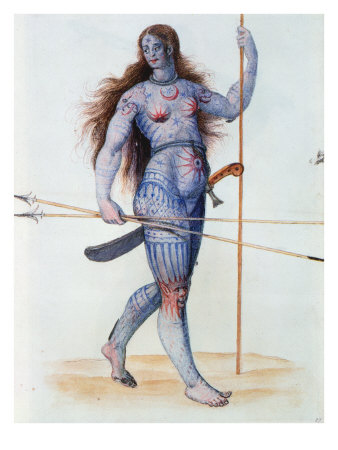 An ancient illustration, depicting another proud female warrior striding forth into battle in her altogether.