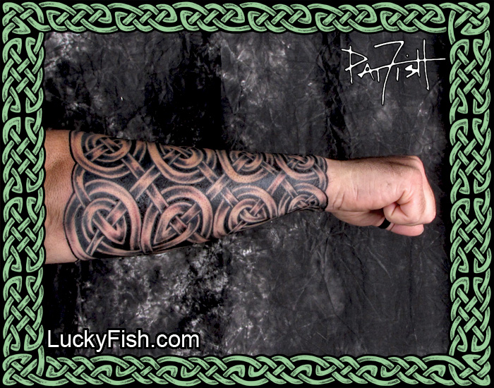 'DarkLord Armor' Celtic Knot Forearm Sleeve Tattoo by Pat Fish