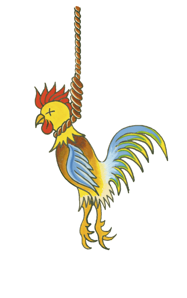 Hanging or Swinging . . . ahem . . . Rooster . . . . Tattoo Flash by Cliff Raven