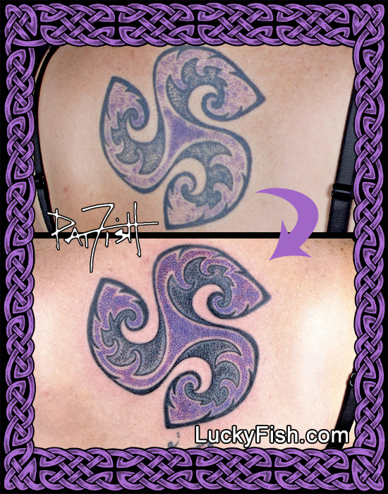 'Protectorant' spiral tattoo in purple by Pat Fish