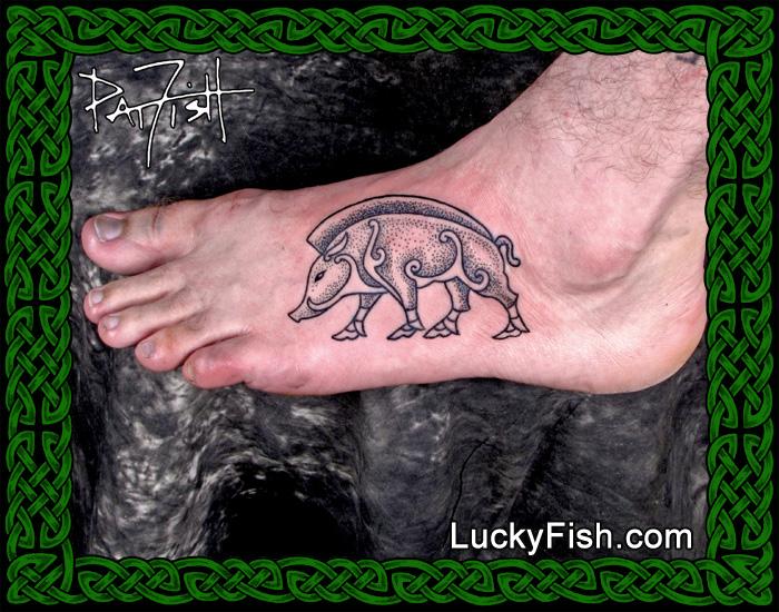 Pictish Stone Boar Tattoo