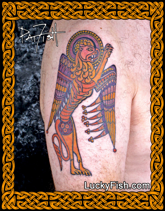 'Book of Kells Lion' Celtic Tattoo by Pat Fish