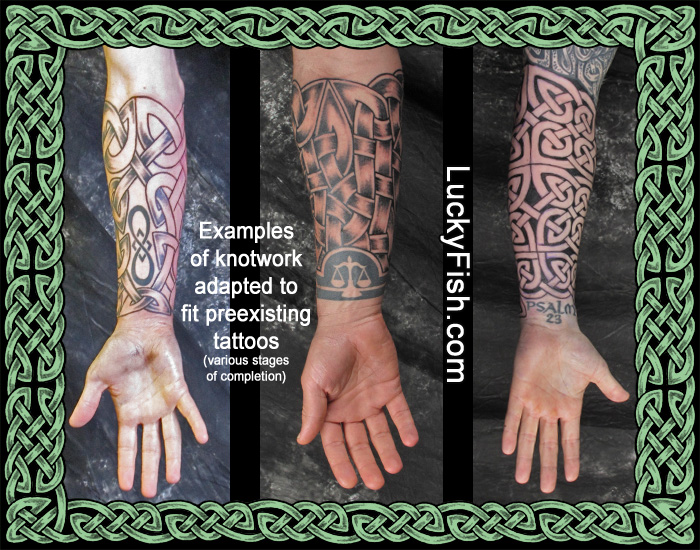 Knotwork Sleeves by Pat Fish,  adapted to fit preexisting tattoos