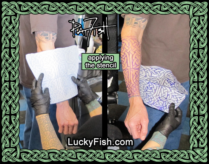 Applying a custom sized and shaped stencil to the forearm