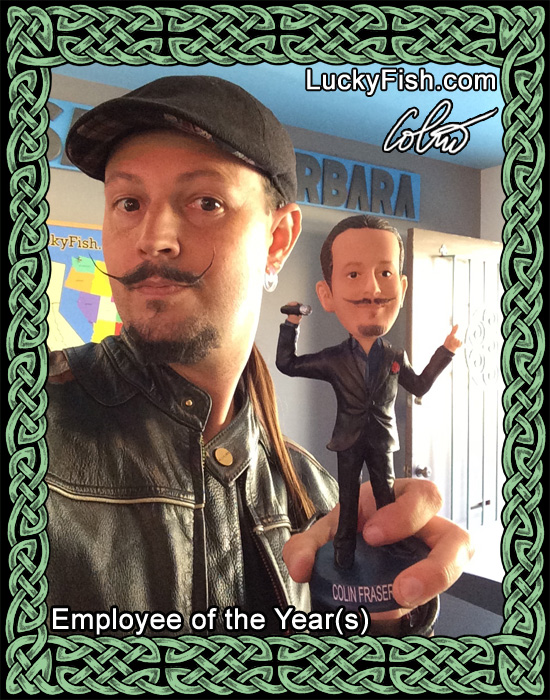 "ColinFraser and His custom ""Employee of the Year"" bobble-head statuette"