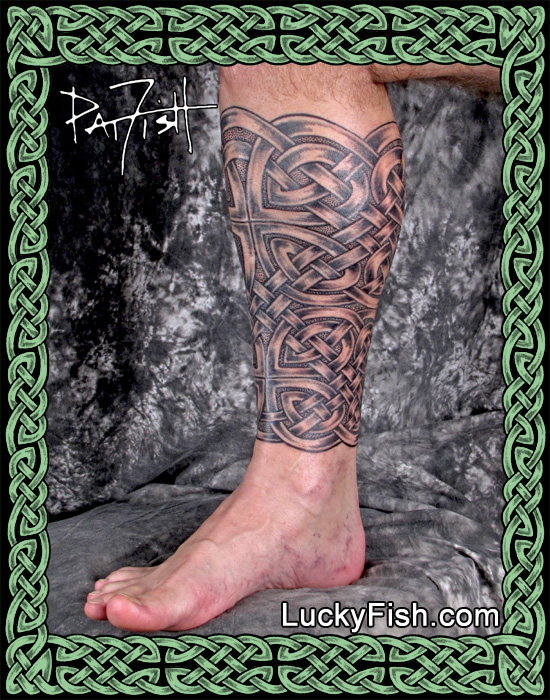 Full Celtic Knotwork Calf Tattoo by Pat Fish