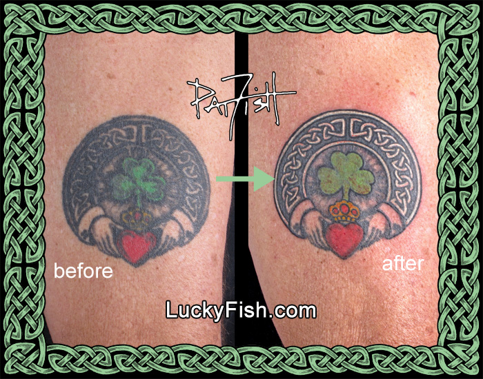'Claddagh Ring' Tattoo Refurbishment by Pat Fish