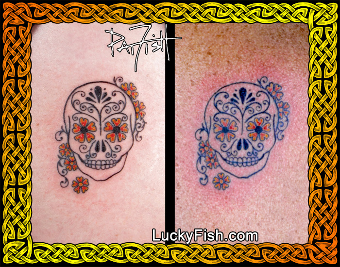 Matching Sugar Skull Tattoos by Pat Fish