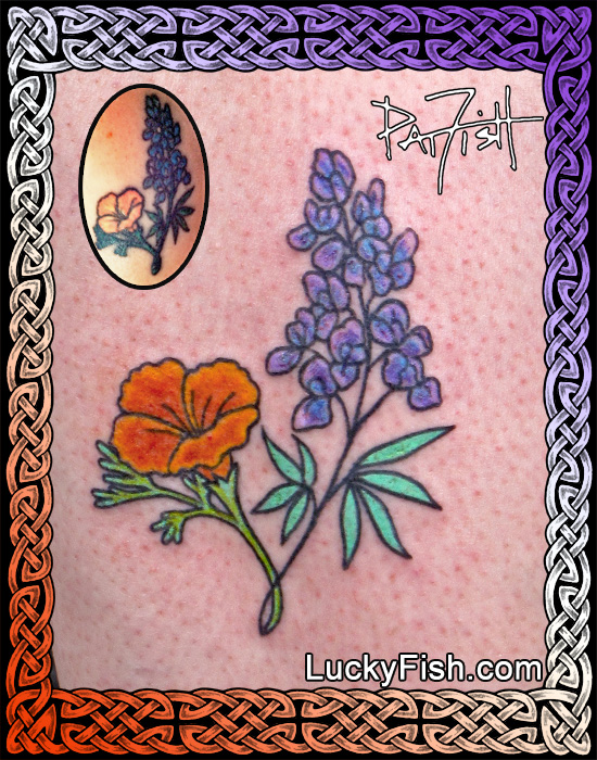Poppy & Lupine Dedication Tattoo by Pat Fish