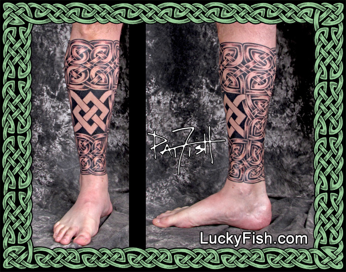 'Nodo Firmo' Celtic Knot Leg Tattoo by Pat FIsh