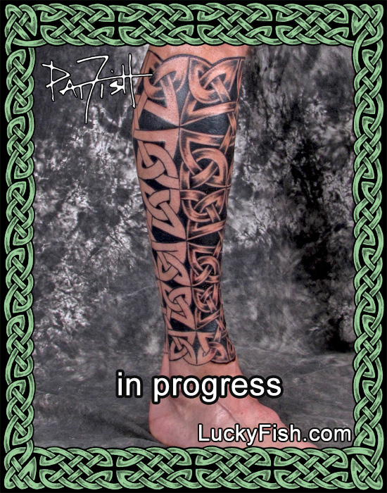 Celtic Full Leg Tattoo in Progress by Pat Fish