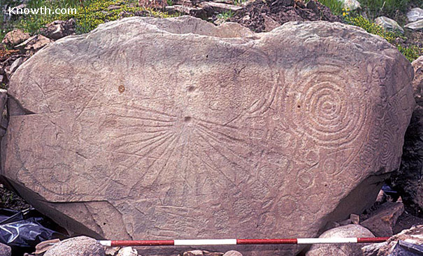 Kerbstone K15, photographed during excavations at Knowth. -knowth.com