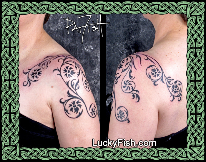 Floral Tapestry Shoulder Tattoo by Pat Fish