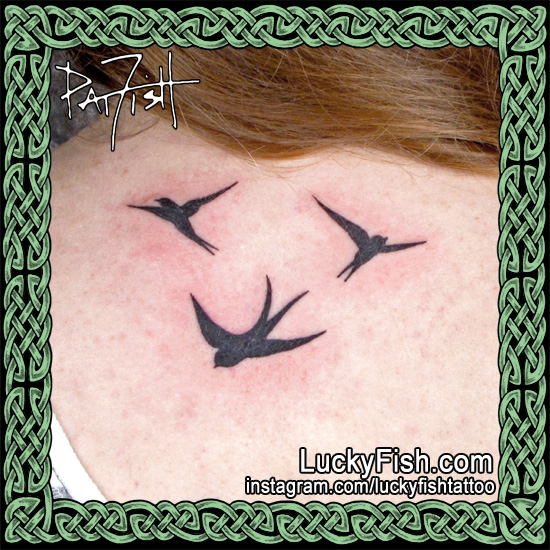 Russian Silhouette Swallows Tattoo by Pat Fish