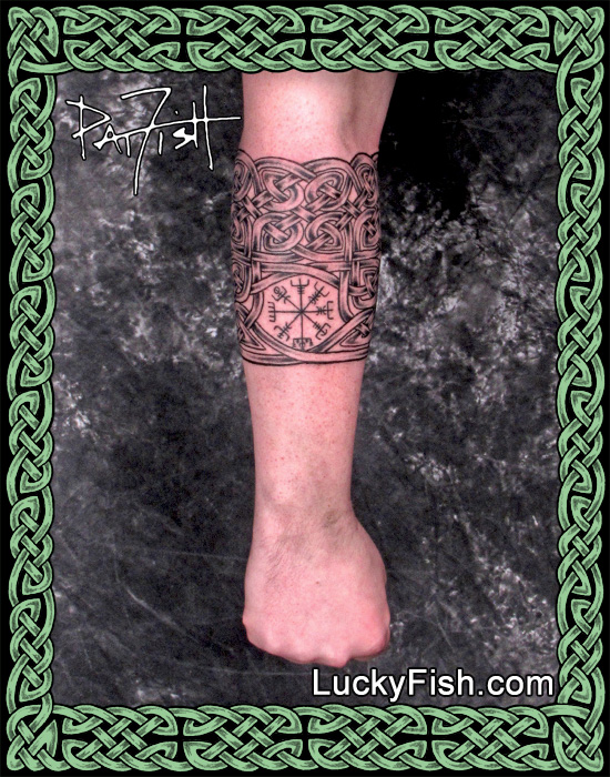 Custom Celtic Compass Cuff Tattoo by Pat FIsh