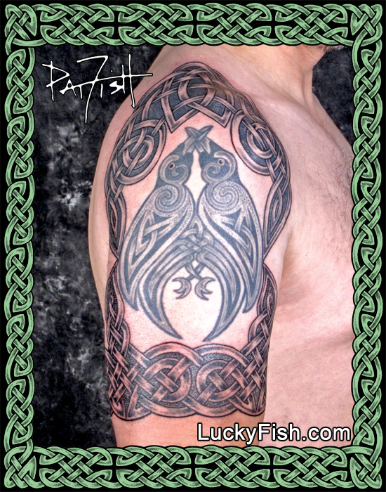 "'Watchers"" Celtic Knotwork Half-Sleeve Tattoo"