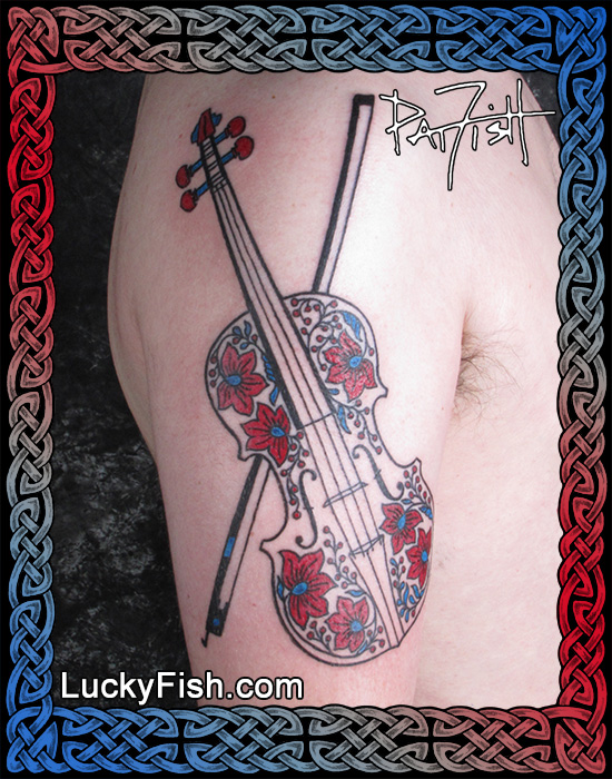 Hungarian Violin Tattoo by Pat Fish