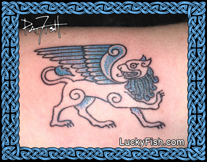 Celtic Winged Lion tattoo by Pat Fish