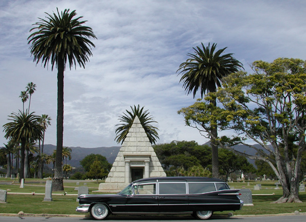 My 1959 Miller-Meteor Cadillac hearse in the Santa Barbara Graveyard in Montecito.