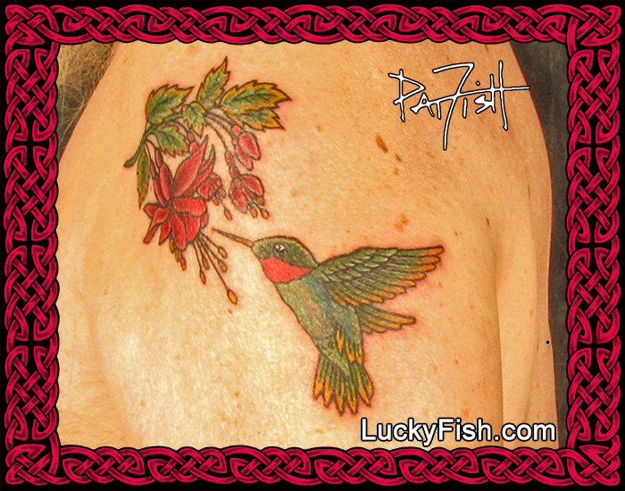 Hummingbird Love tattoo by Pat Fish