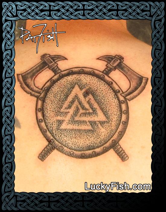 Viking Valknut Shield tattoo by Pat Fish