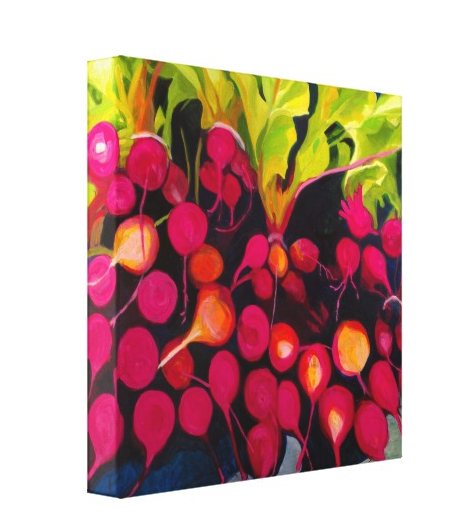 Radishes: Stretched Canvas Print