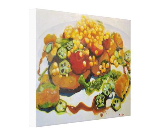 Okra & Corn : Stretched Canvas Print