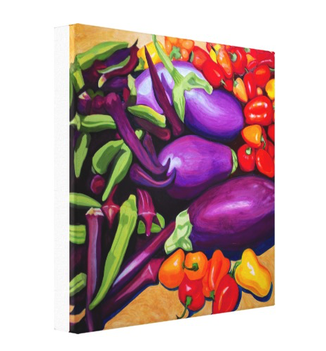 Eggplant & Peppers: Stretched Canvas Print