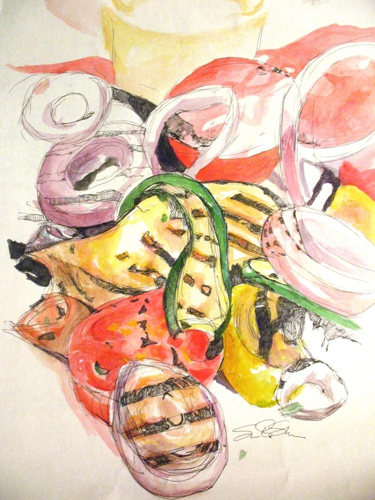 Grilled Vegetables: Stretched Canvas Print