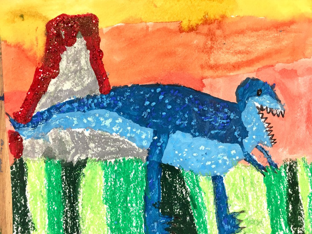 Derrick Lee blue dinosaur drawing Mini Makers 2017.jpg