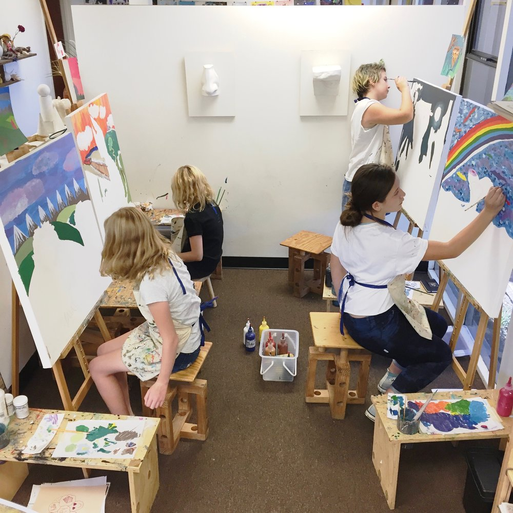 summer intensive students working Large Canvas Painting SAI 2017.jpg
