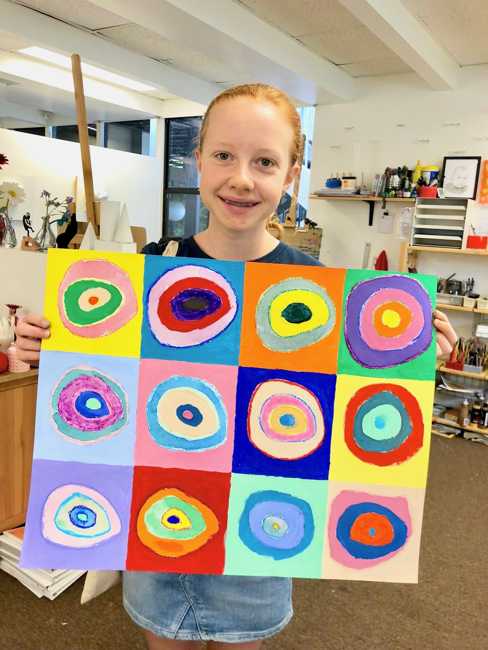 A camper with her beautiful Kandinsky project!