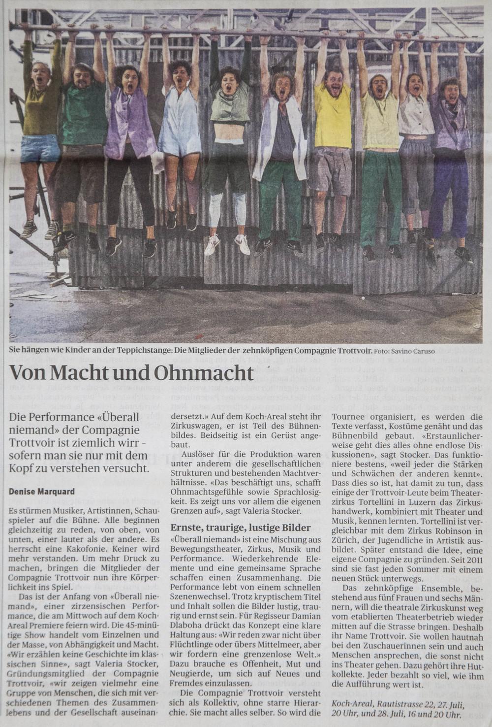 25. Juli 2016 - Tagesanzeiger Zürich