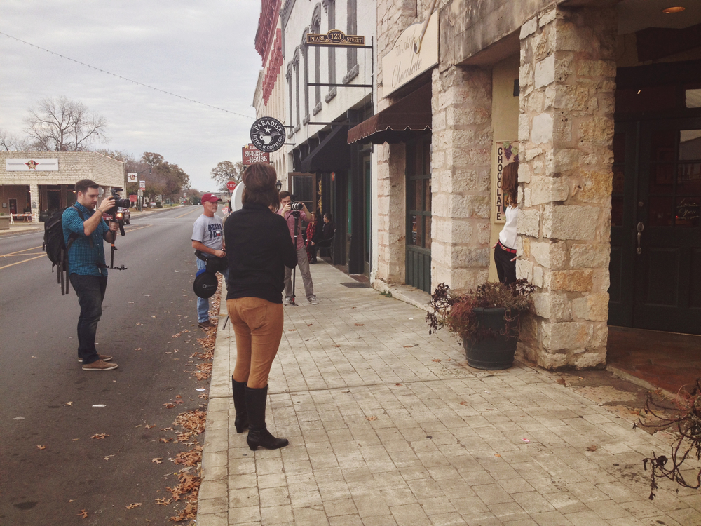 The team. Shooting outside Granbury square. Such a charming town.   Photo credit: courtesy of   iPhone