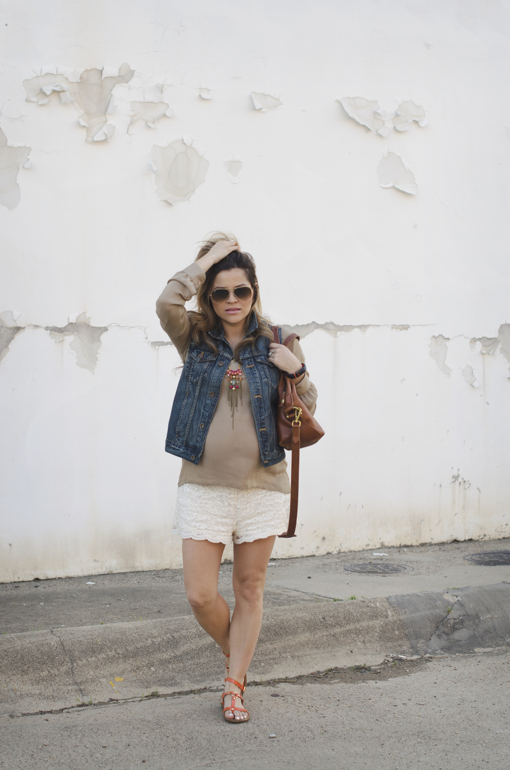 blouse-and-lace-shorts