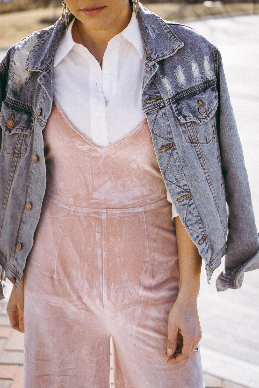 blush velvet jumpsuit